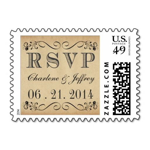 RSVP Rustic Parchment Wedding Postage Stamps.  Personalized wedding postage stamps  Personalize with the name of the bride and groom  => http://www.zazzle.com/rsvp_rustic_parchment_wedding_postage-172007917017823132?CMPN=addthis&lang=en&rf=238590879371532555&tc=pinWideasRSVPrusticparchmentweddingstamp