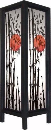 """Large 20"""" Red Dawn Lamp    A vibrant orange-red sun is set behind the silhouette of bamboo stalks in this attractive decorative paper lamp. At 20 inches in height, this beautiful lamp will make a great stand alone piece in any room."""