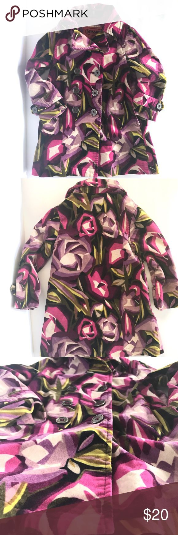 Missoni Toddler Girls Peacoat Missoni Toddler Girls Peacoat, Size M (18-24months), Beautiful Art Deco Bright and Bold, Purple, Pink, and Yellow, perfect for Spring layers. Velvety soft, little imperfections as shown in the last few photos, but not very noticeable, Smoke free home Missoni Jackets & Coats