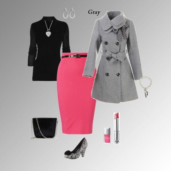 Pink pencil skirt with black and gray
