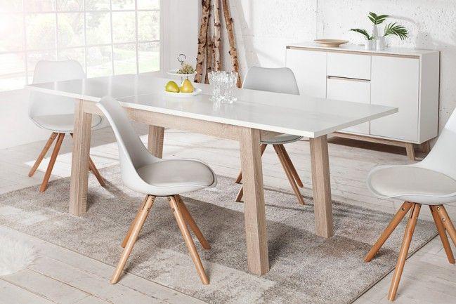Ausziehbarer Design Esstisch STOCKHOLM weiß 140-190 cm Eiche Sonoma - Der ausziehbare Esstisch STOCKHOLM verbindet cleveres Design mit Funktionalität. Er besticht durch seine klare Linienführung und d