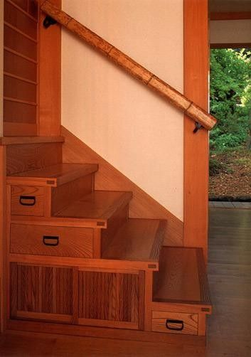 Staircase Storage by DKO Architects via houzz: Beautiful Asian boxes and bannister. #Staircase_Storage DKO_Architects