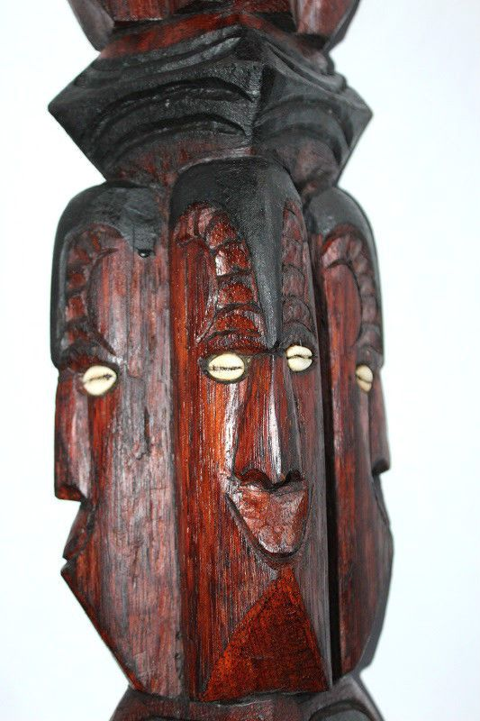 Pair Of Vintage Large Hard Wood Island Tribal Totems With Inset Cowrie Shells