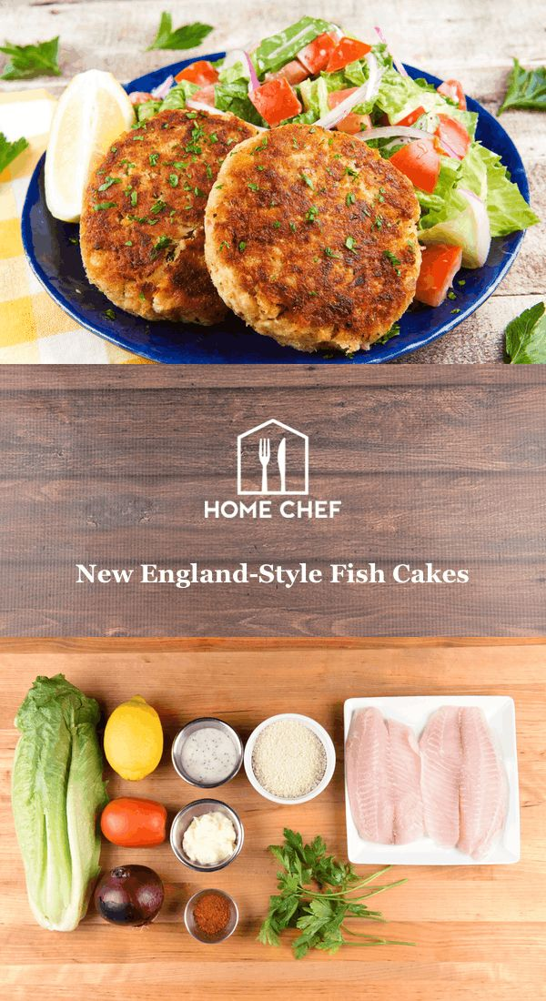 Add a new dimension to your seafood game with these lemony fish cakes. Baked tilapia gets mixed with fresh parsley, panko breadcrumbs, and Old Bay seasoning that adds distinctive, zesty flavor to these delicate cakes. Served alongside a crisp romaine salad tossed with poppyseed dressing, this is low-cal living at its finest.