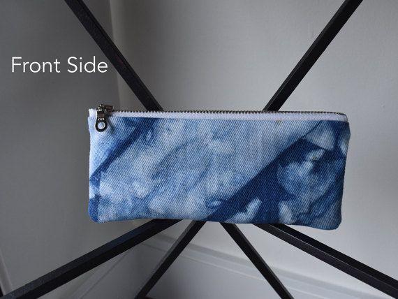 Pencil Case S1  Shibori Dyed Using Indigo by DyedDsgn on Etsy