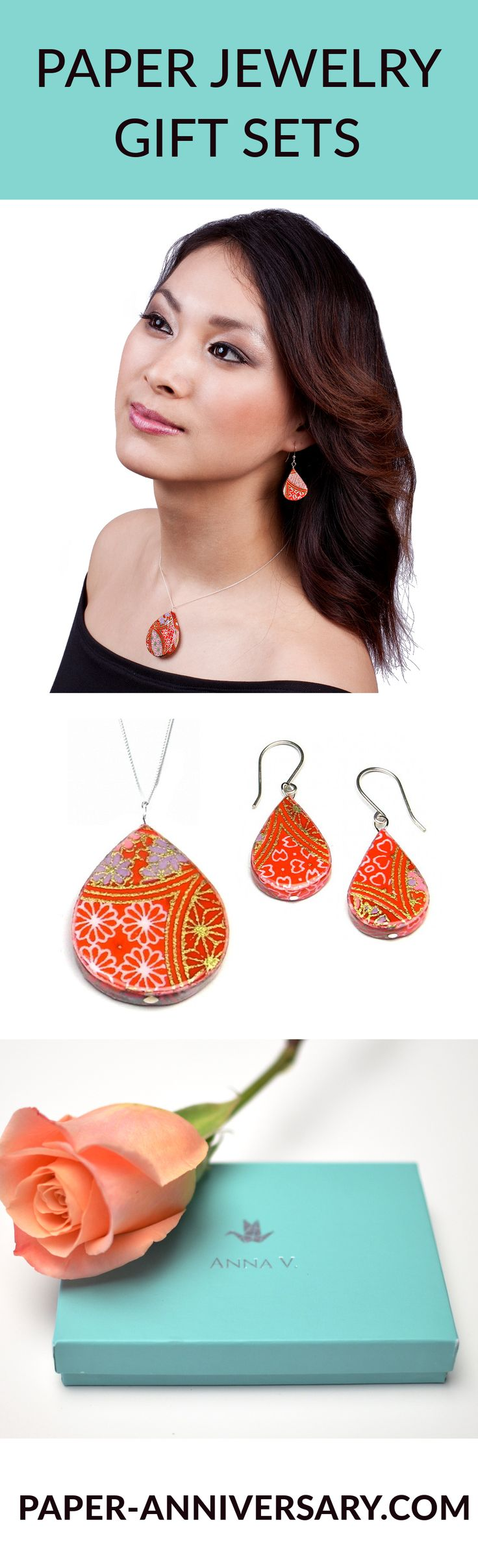 The traditional first anniversary gift is PAPER! Glazed paper jewelry sets are a unique, romantic first anniversary gift for her. Made from exotic papers from all around the world. Gift sets include earrings, necklace, card, gift box & a description of the unique paper it's made from. 2-Day Shipping. -- Make Your First Anniversary Memorable!