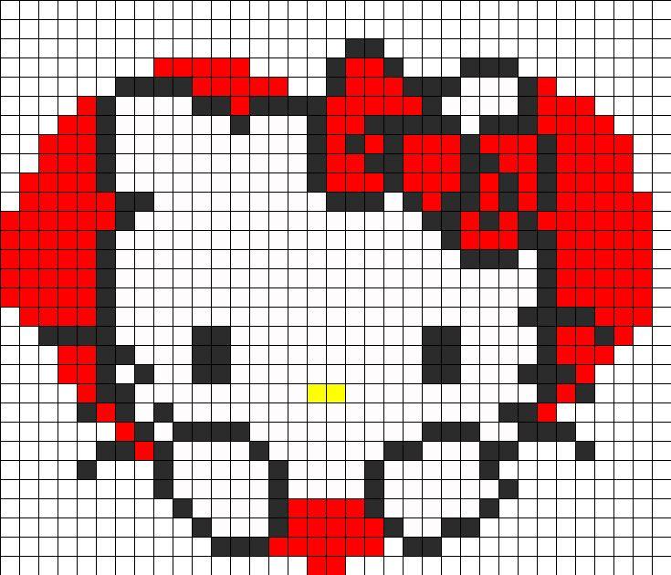 Hello Kitty Heart Fuse Bead Pattern | Perler Bead Patterns | Characters Fuse Bead Patterns