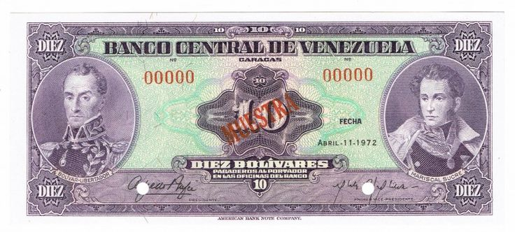 Venezuela, 10 Bolivares, 1972, Specimen Serial #00000