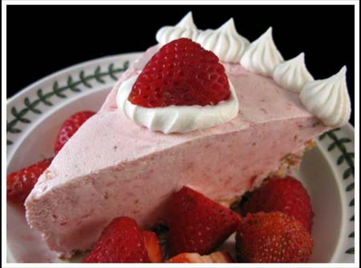 Grandma's Strawberry Cream Cheese Pie: strawberries - cream cheese - strawberry gelatin - condensed milk - graham cracker pie crust.
