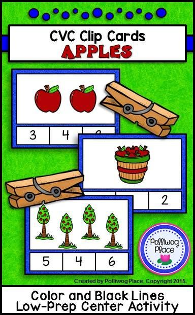 bags and co Counting to 20 Clip Cards  Apples    Low Prep Math Center Activity