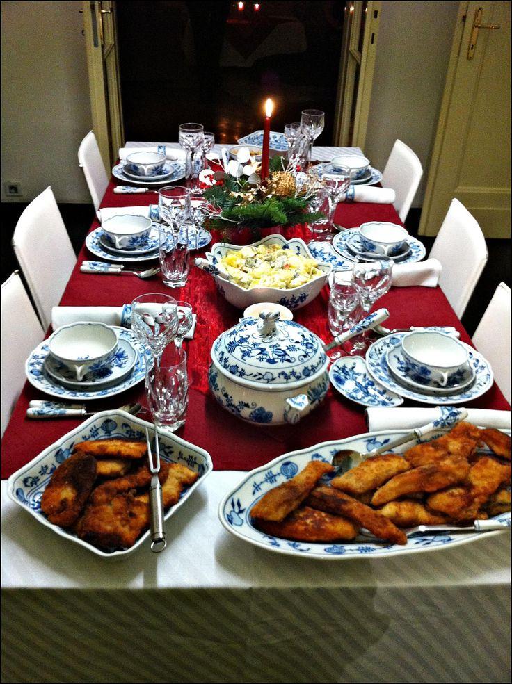 Christmas Eve's dinner fish soup, carp and potato salad