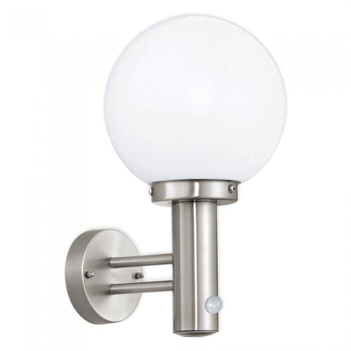 Nisia 60w Stainless Steel White Globe Garden Outdoor Wall Light Pir
