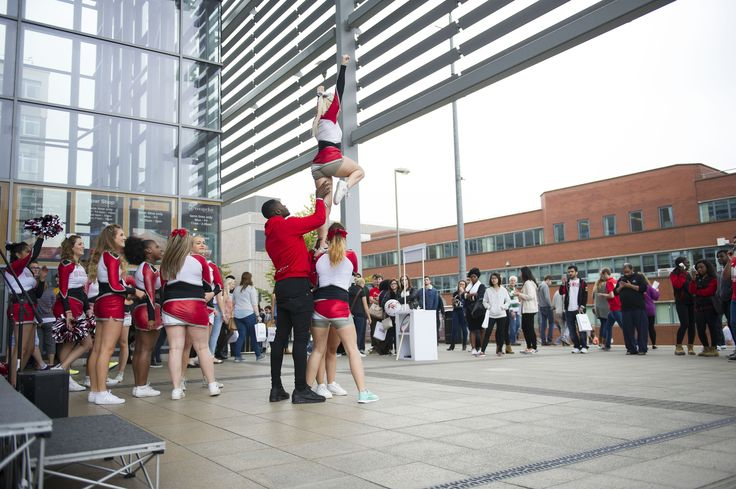 Visitors were also treated to a display from the university's cheerleading society.