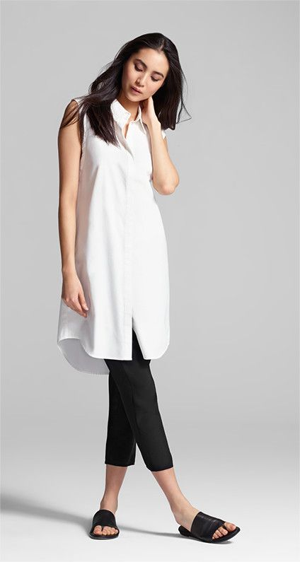 The classic shirtdress reinvented. Crisp with modern attitude.
