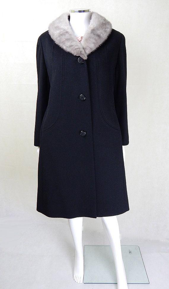 Original años 1940 Gormant Vintage piel cortar lana negra capa Reino Unido tamaño 16