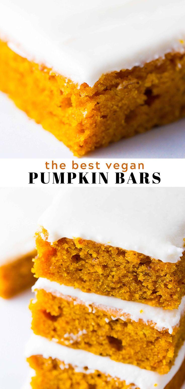 Vegan Pumpkin Cake Bars are made of fluffy, moist …
