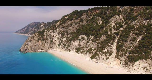 Beautiful Lefkada island 4K aerial video. Best Beaches in the Mediterranean - Egremnoi, Porto Katsiki, Kathisma, Vasiliki...