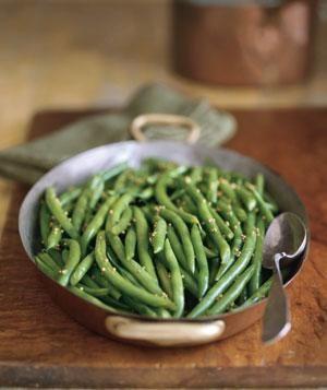 Green beans with a honey-mustard glaze