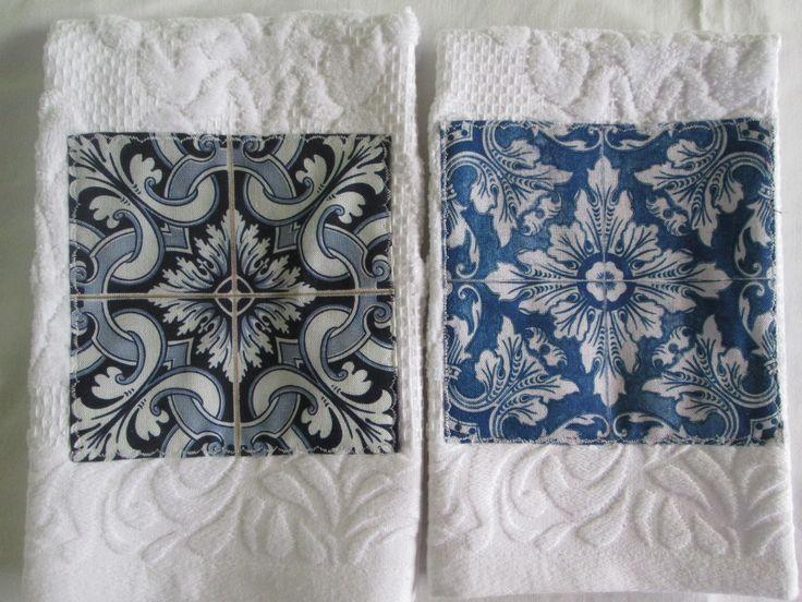 Pano de mãos de cozinha, com tecido Azulejos Portugueses