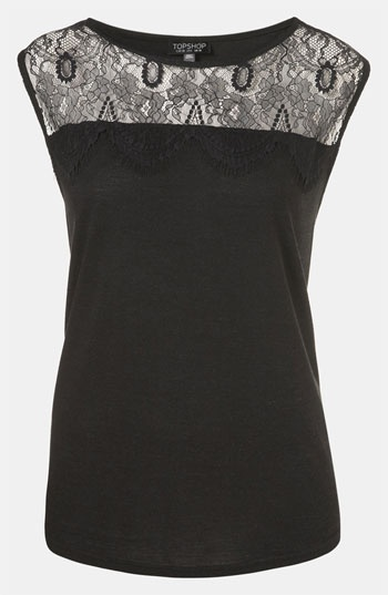 Topshop Lace Yoke Tank available at Nordstrom    This would be cute with your red pants and short buckle boots