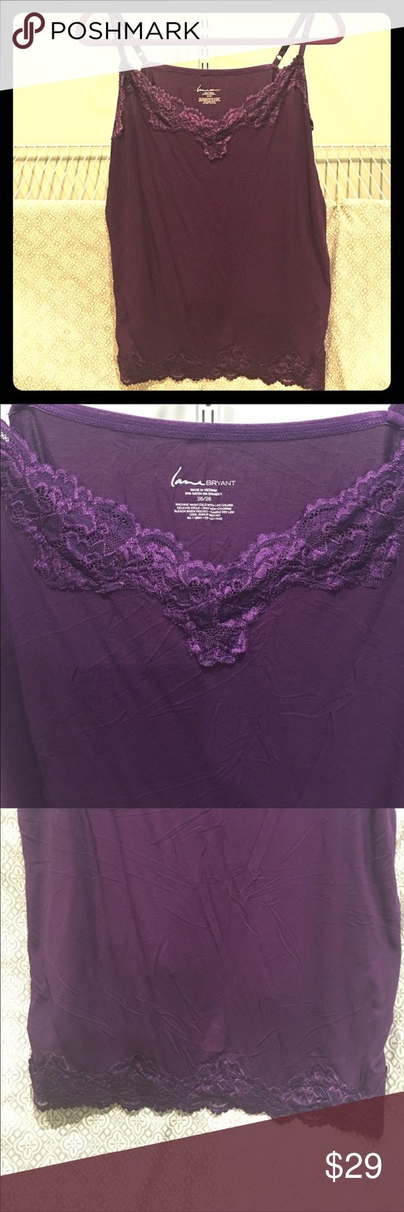 "Plus size 26/28 Lane Bryant Purple Laced Cami 29"" Plus size 26/28 Lane Bryant Purple Laced Cami 29"" length adjustable straps Lane Bryant Tops Camisoles"