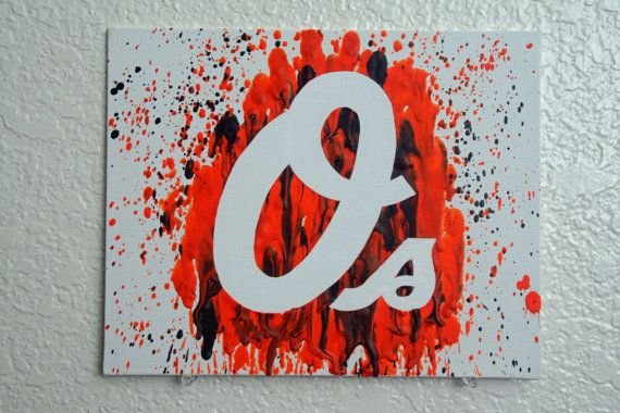 Baltimore Orioles Melted Crayon Art by MikeAndKatieMakeArt on Etsy