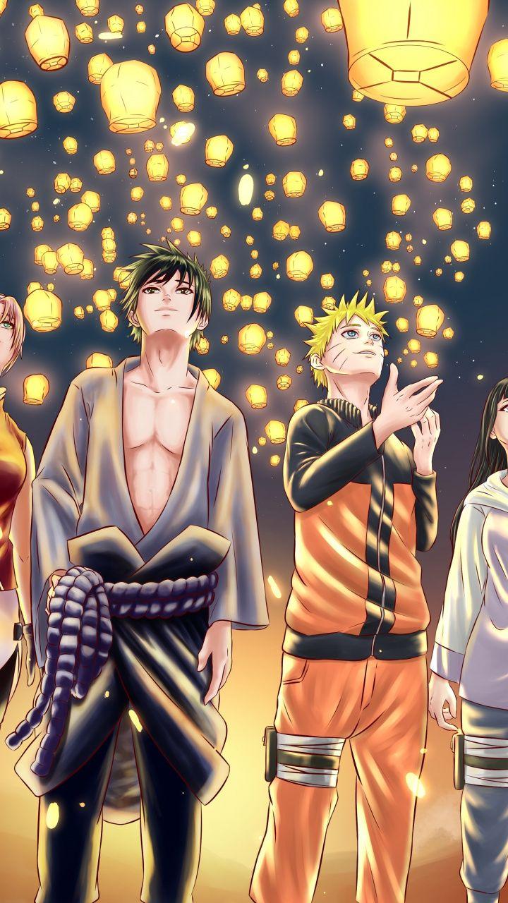 Anime Naruto Friends Lanterns Artwork 720x1280 Wallpaper