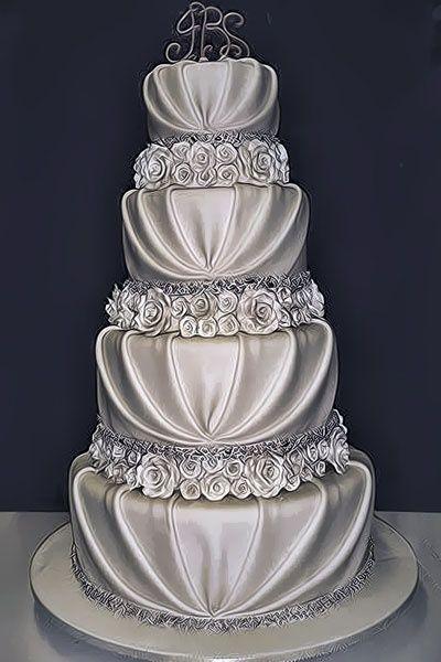 Gorgeous silver wedding cake, it looks like fabric!
