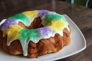 Quick and Easy Mardi Gras King Cake - made from canned cinnamon rolls