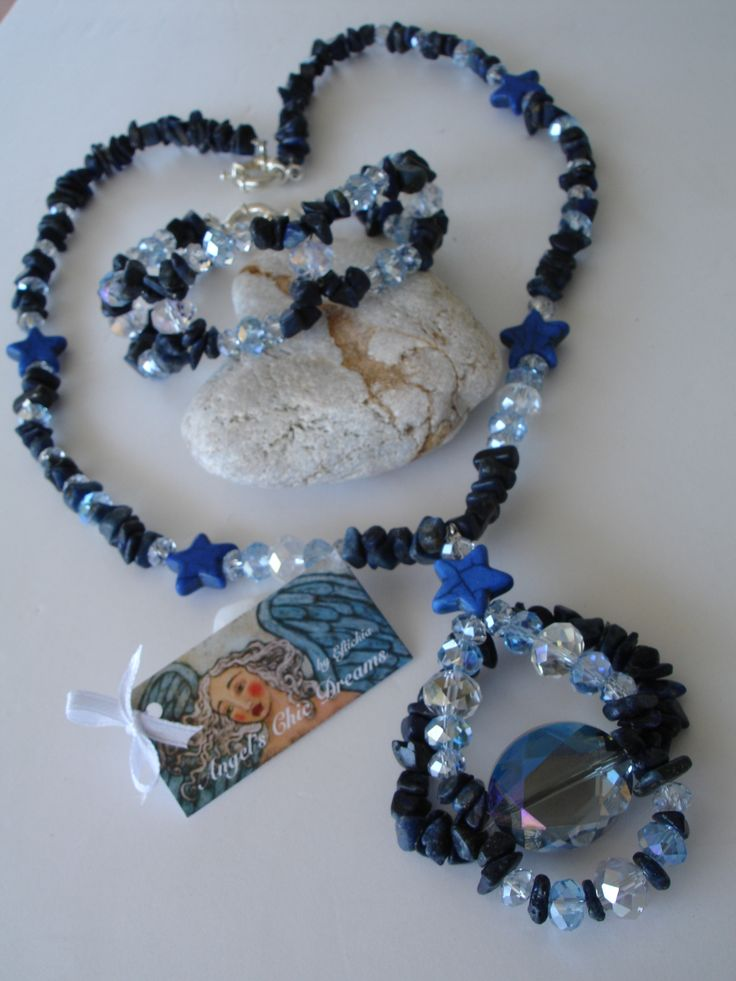 SET NECKLACE-BRACELET WITH SEMI PRECIOUS STONES AND CRYSTALS LAPIS CHAOLITES...