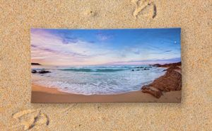 Moonscape, Bunker Bay Beach Towel design by Dave Catley featuring sunset walk on…