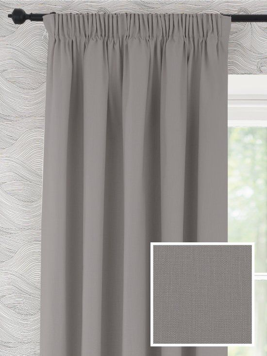 *NEW* Ready Made Curtains in Camber- a lovely Mid-Grey. Pencil Pleat Curtains,100% Cotton, Ready Made in a range of sizes with a cotton or blackout lining option #naturalfabrics #curtains #readymadecurtains