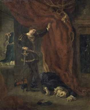 Hamlet in Front of the Body of Polonius by Ferdinand Victor Eugene Delacroix.