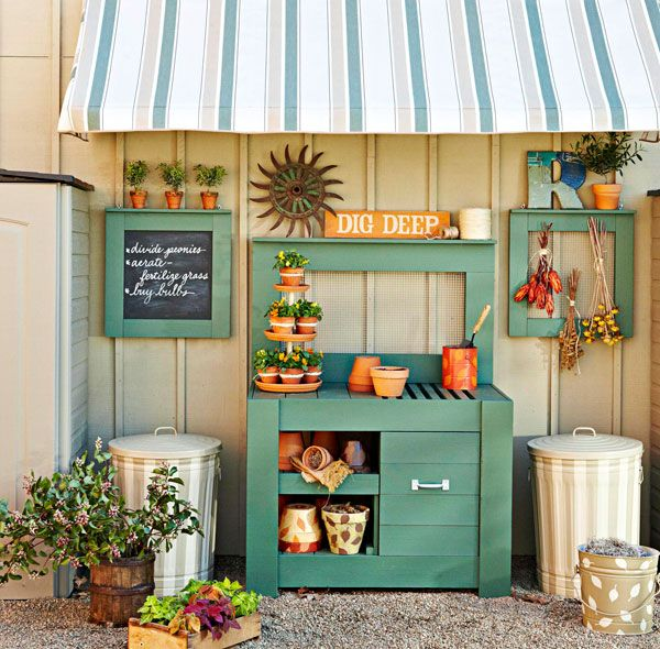 sweet potting area from Lowe's Creative Ideas - love the slotted counter for excess soil