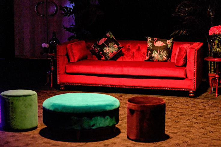 Luxe velvet furniture in mixed tones. Furniture hire by Event Avenue. Theming design by Unicorn Group.