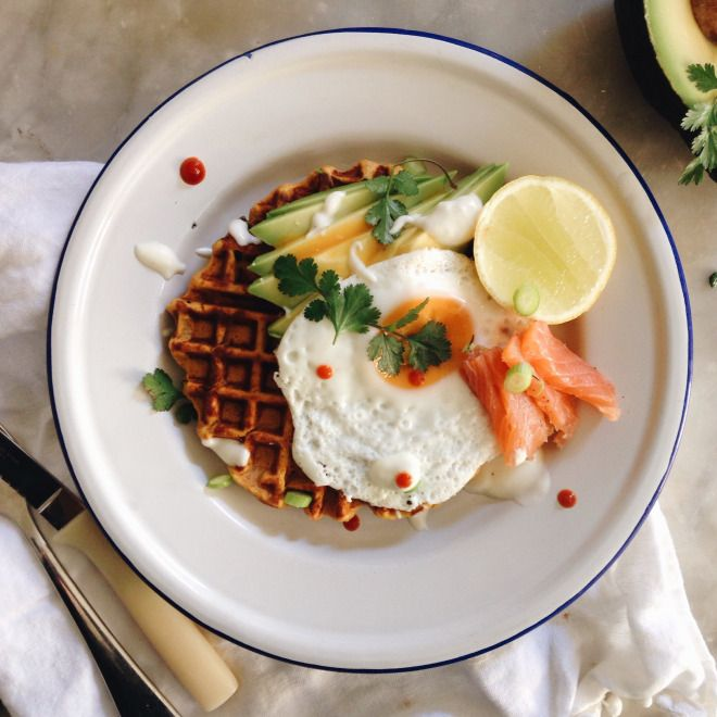 SWEET POTATO WAFFLES   The Healthy Hunter  Served with: smoked ocean trout, avocado and a fried egg...  Served on: vintage enamel plates with vintage cutlery