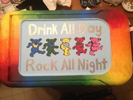 The Grateful Dead drink all day rock all night bears tie dye rainbow cooler top