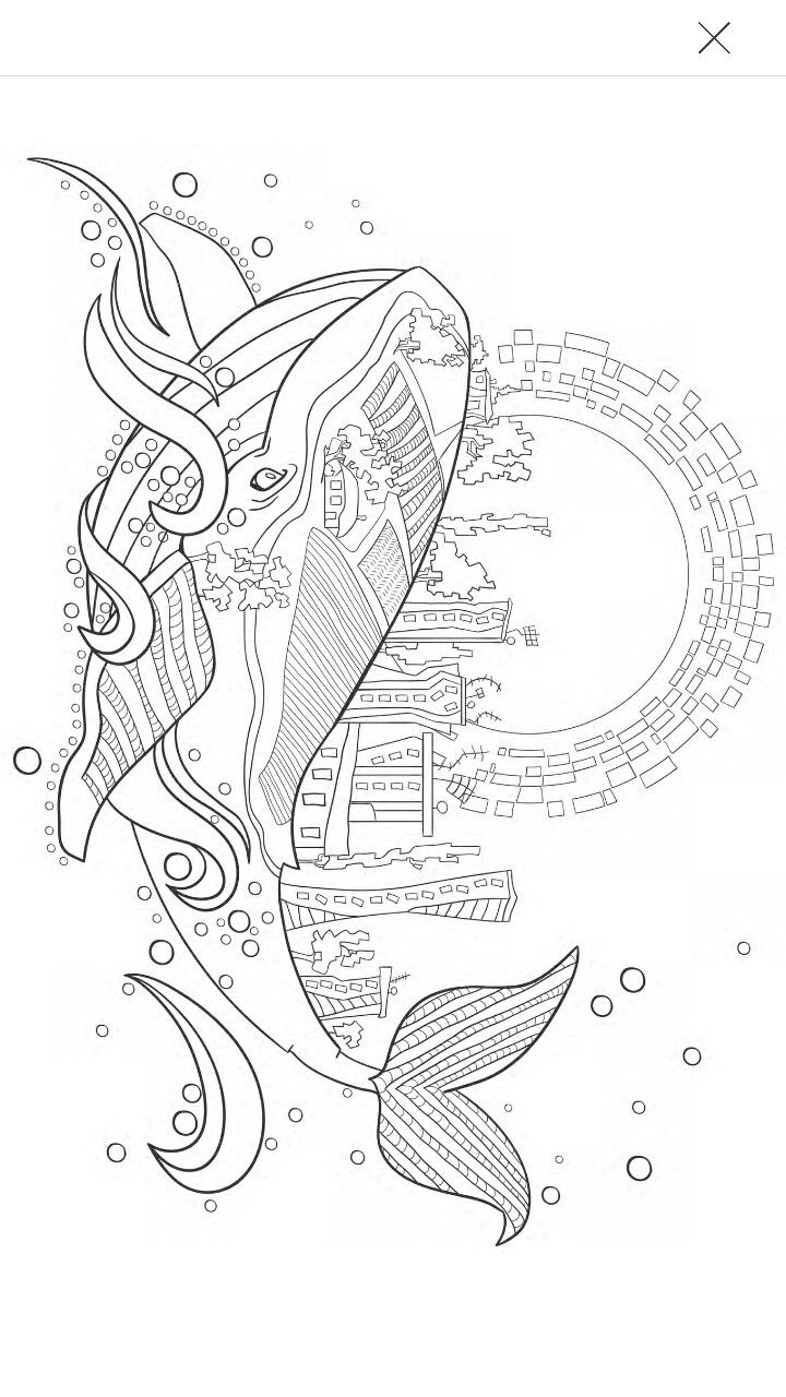 The tula pink coloring book - Whale Coloring Page