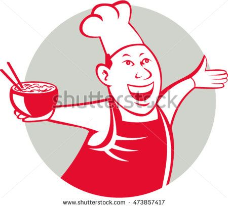 Illustration of an asian chef dancing holding serving a bowl of noodle viewed from front set inside circle on isolated background done in cartoon style. #chef #cartoon #illustration
