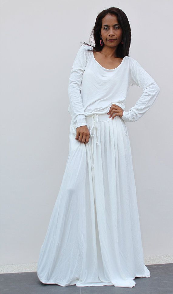 Off-White Maxi Dress -  Long Sleeve dress : Autumn Thrills Collection No.1  (Best Seller) on Etsy, $59.00
