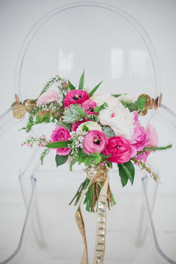 Emerald and Pink Wedding Ideas ranunculus, peonies, succulents