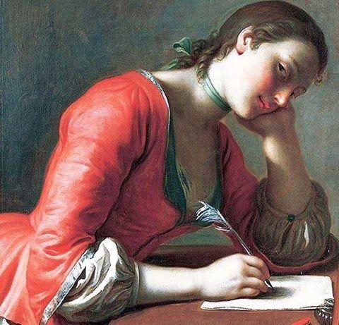 """""""Carta de Amor"""" de Pedro Antonio Rotari (Verona 1707-San Petersburgo 1762). Óleo sobre lienzo, 85 x 69 cm, 1755. Norton Simon Museum, Pasadena, USA"""