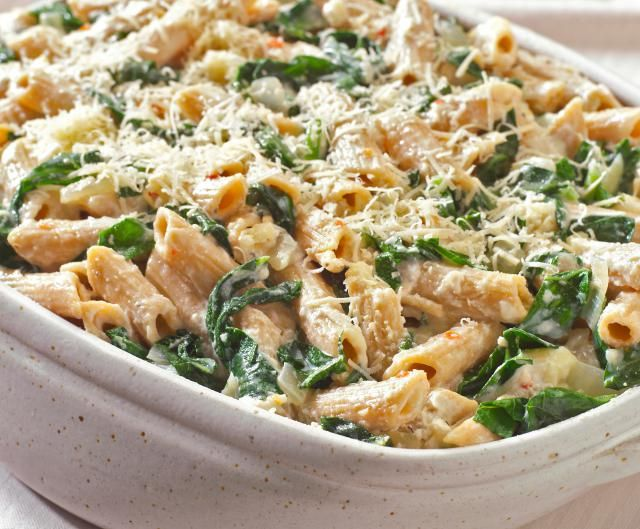 An oven-baked pasta dish with ricotta cheese, tomatoes and spinach. This cheesy casserole is healthy enough that adults will approve, yet cheesy enough that kids will eat it.