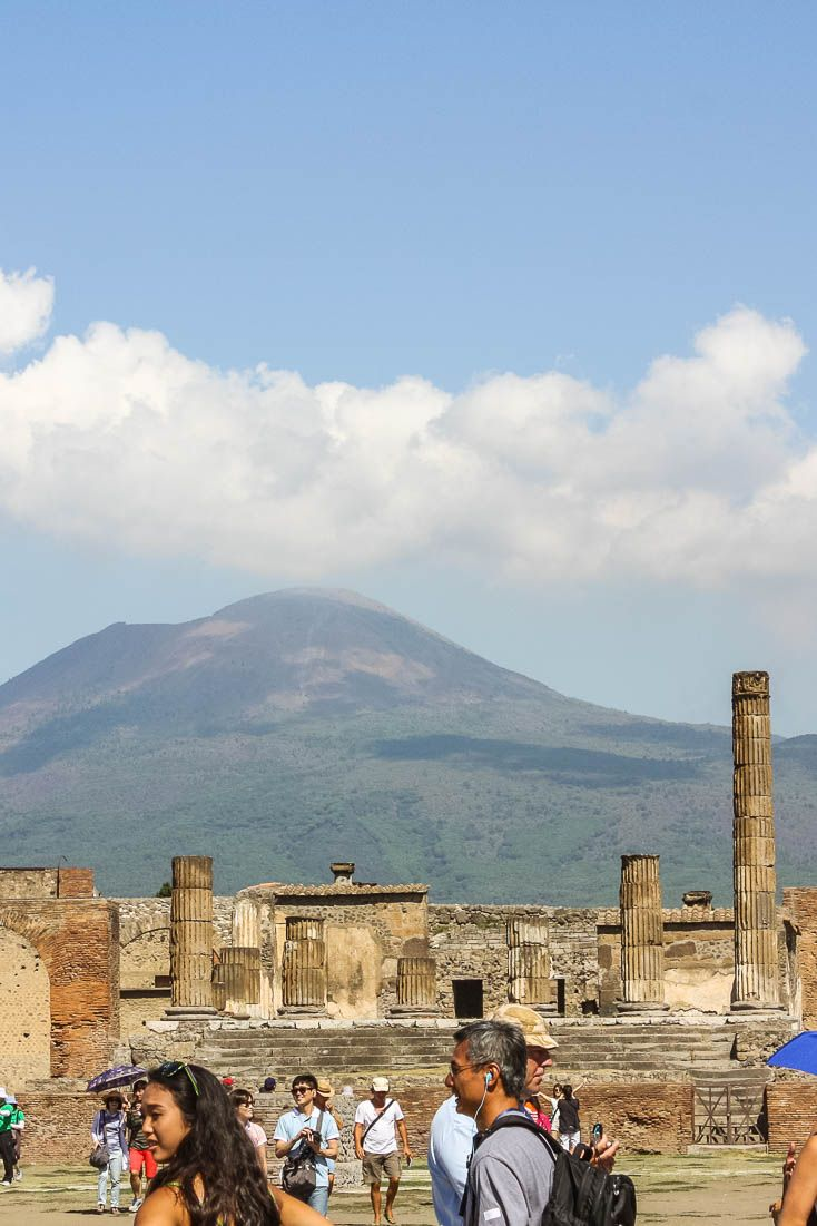 Mount Vesuvius overlooks the ruins of Pompeii, a Roman city in modern-day Italy destroyed by the volcano in 79AD. For more information, check out the blog post. #Pompeii #Italy #Vesuvius