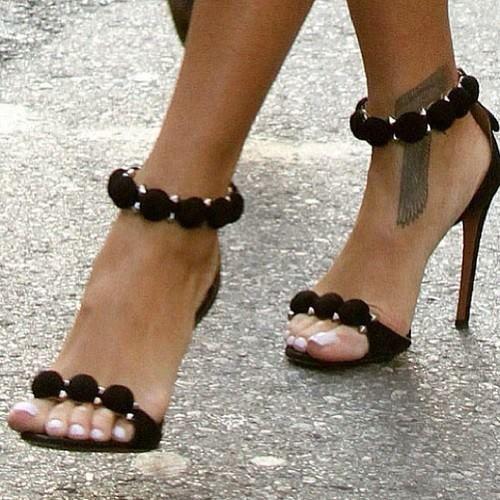 Black & gold ankle strap sandal