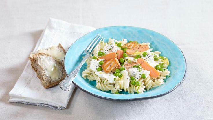 Oppskrift på Stekte laksebiter med pastaskruer og fennikel, foto: