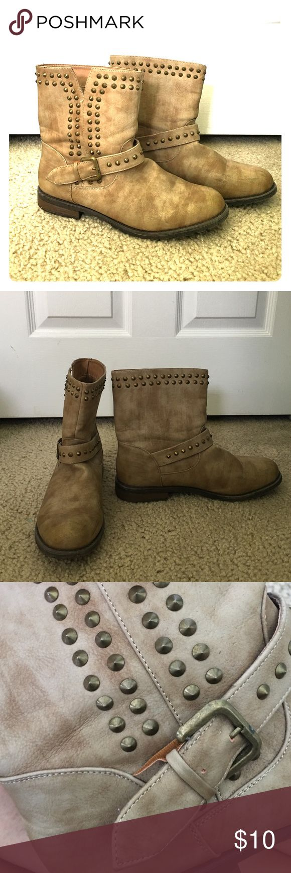 Light tan ankle boots with studs! Size 10 These ankle boots are a must have! Tan leather worn in look. With studs and a buckle for accents. Size 10. These boots are super comfy too! Downsizing and have to get rid of shoes :( so sad!!! bamboo  Shoes Ankle Boots & Booties