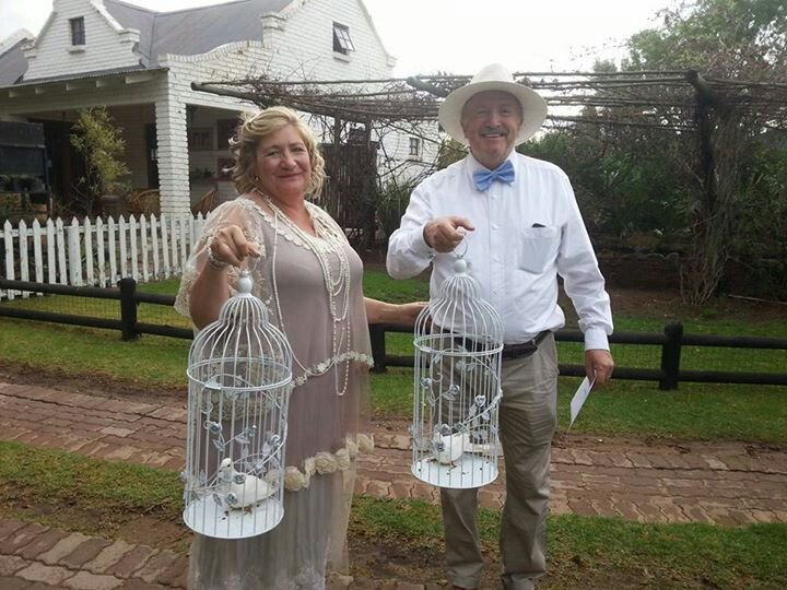 My wedding. White doves in birdcages