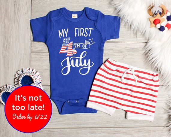 Newborn Baby Boy Romper Bodysuit Pants My First 4th of July US Flag Outfits Sets