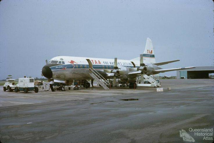 TAA Lockheed Electra, Eagle Farm Airport, Brisbane, 1964